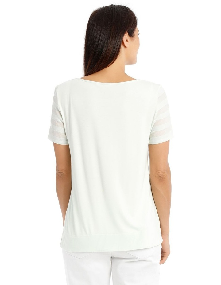 Textured Woven Front Short Sleeve Shell Tee With Knit Back image 3
