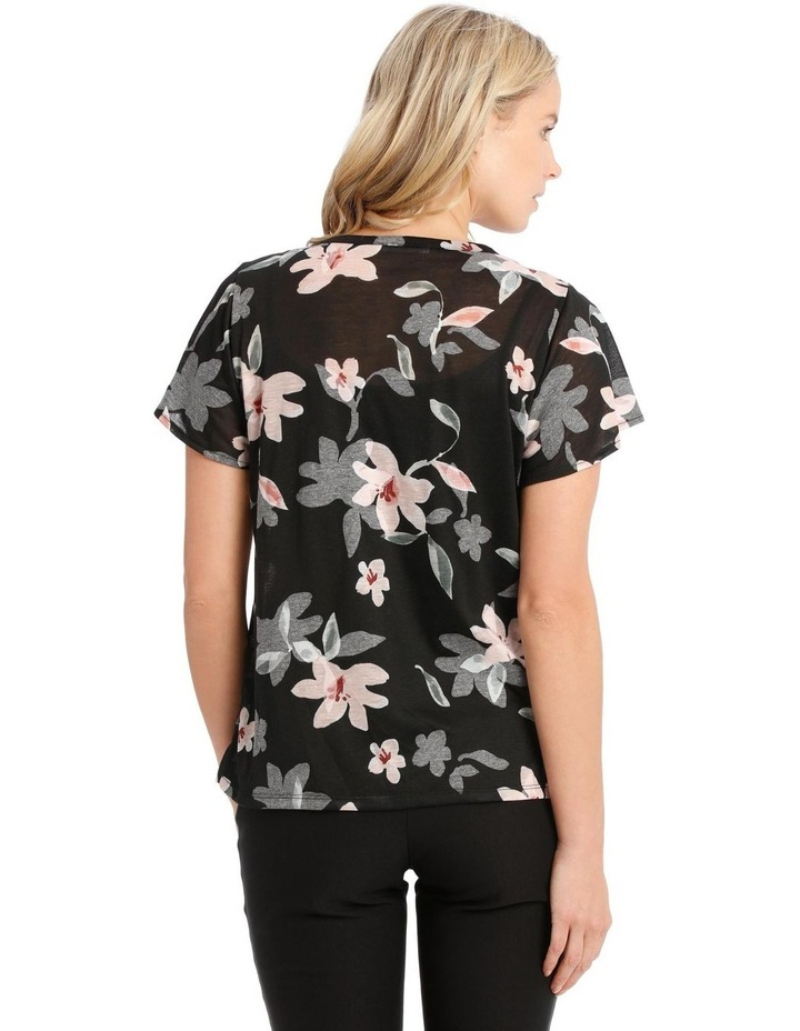 Twist Neck Burnout Tee With Flounce Sleeve image 3