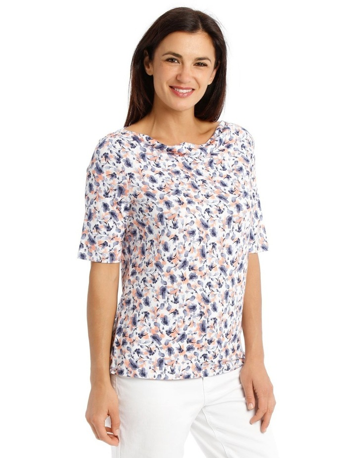 Short Sleeve Cowl Neck Tee-Blue Water Colour Floral image 2