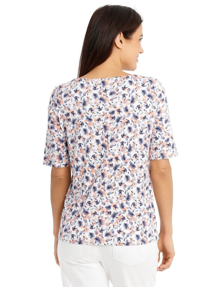Short Sleeve Cowl Neck Tee-Blue Water Colour Floral image 3