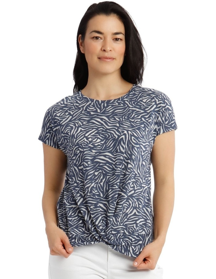 Extended Sleeve Knot Front Burnout Tee image 1