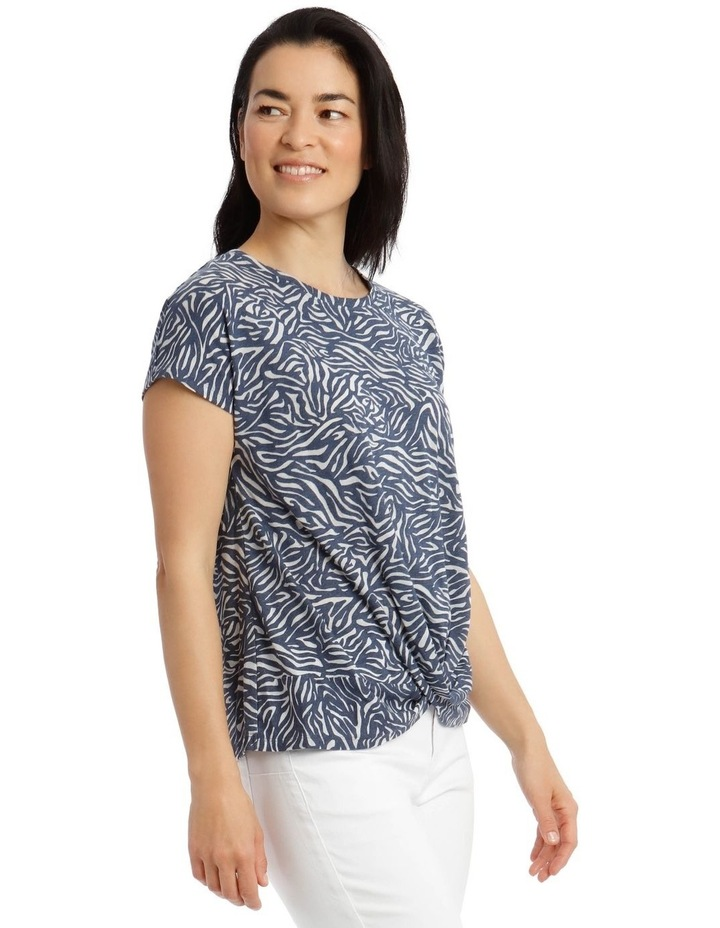 Extended Sleeve Knot Front Burnout Tee image 2