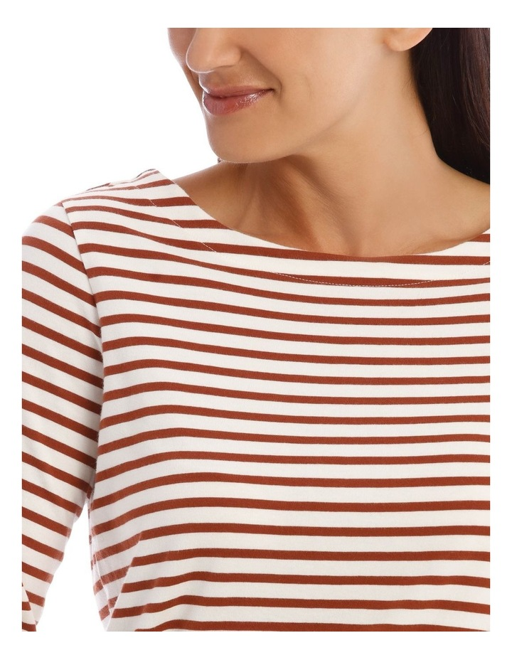 3/4 Sleeve Boat Neck Curved Hem Stripe Tee image 4