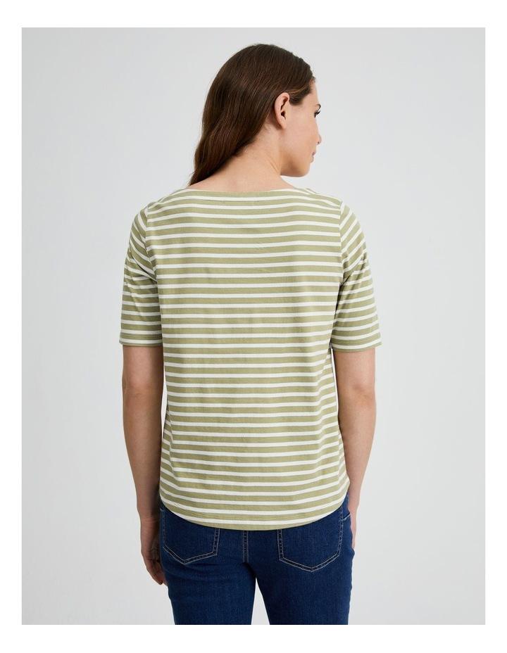 Short Sleeve Stripe Boatneck Tee image 3