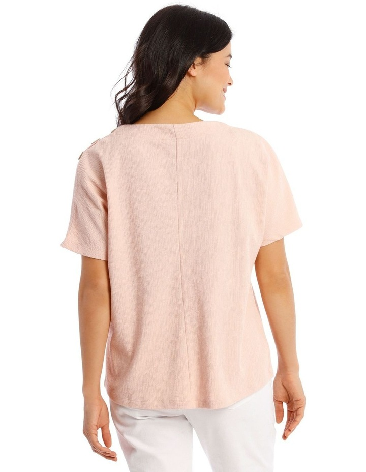 Extended Short Sleeve Tee With Button Shoulder image 3