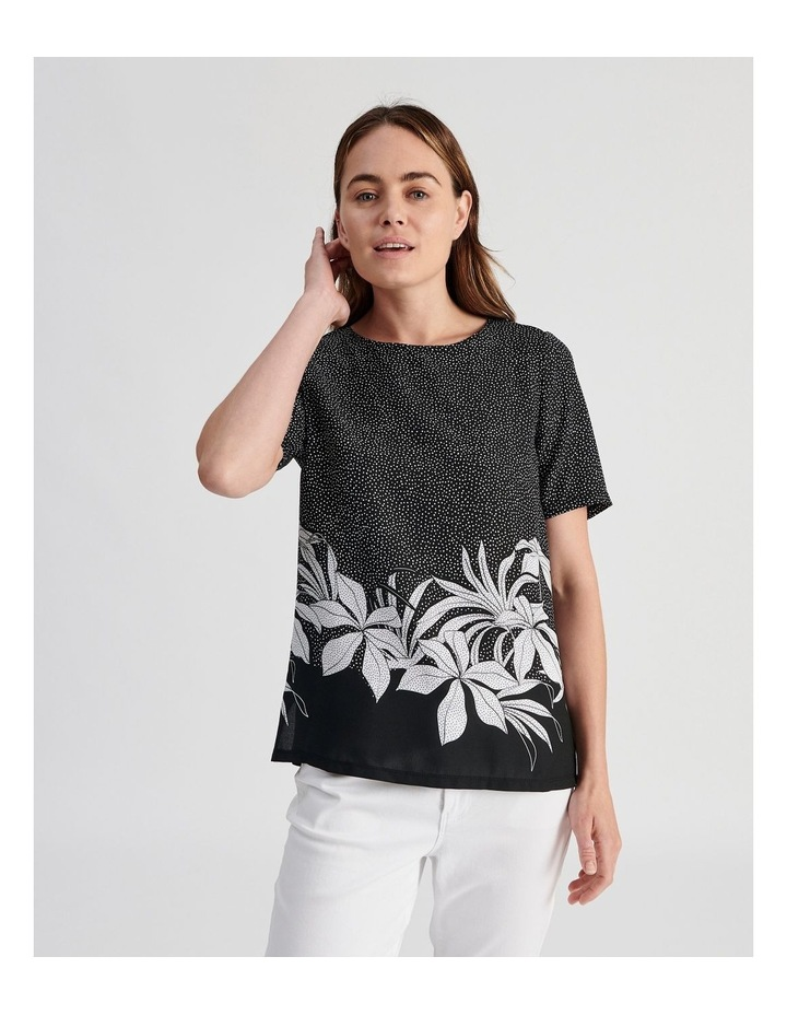 Woven Front With Knit Back Tee image 1