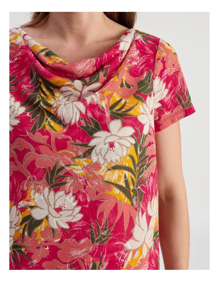 Cowl Neck Extended Short Sleeve Burnout Tee image 5
