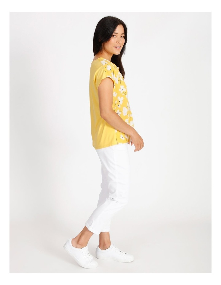 Short Sleeved Woven Front With Knit Back Cowl Neck Tee image 2