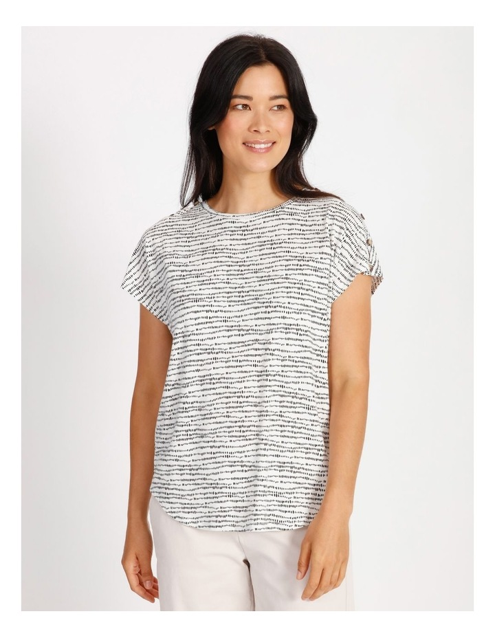 Etched Extended Sleeve Tee With Button Shoulder image 1