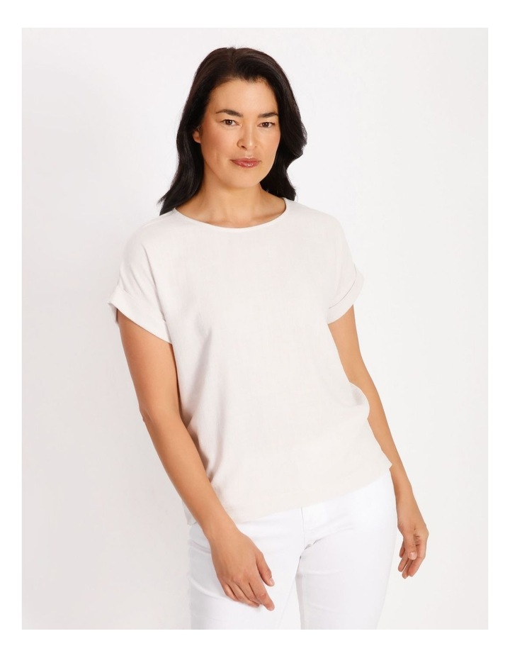 Woven Front Knit Back Magyar Short Sleeve Tee image 1
