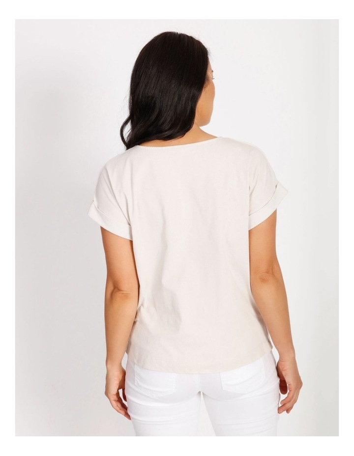 Woven Front Knit Back Magyar Short Sleeve Tee image 3