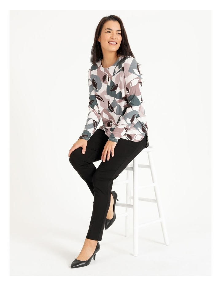 Pillar & Pine Curved Hem Long Sleeve Tee With Button Neck image 2