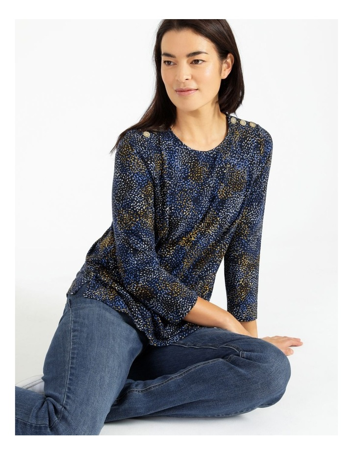 Button Shoulder Tee With 3/4 Length Sleeve image 4