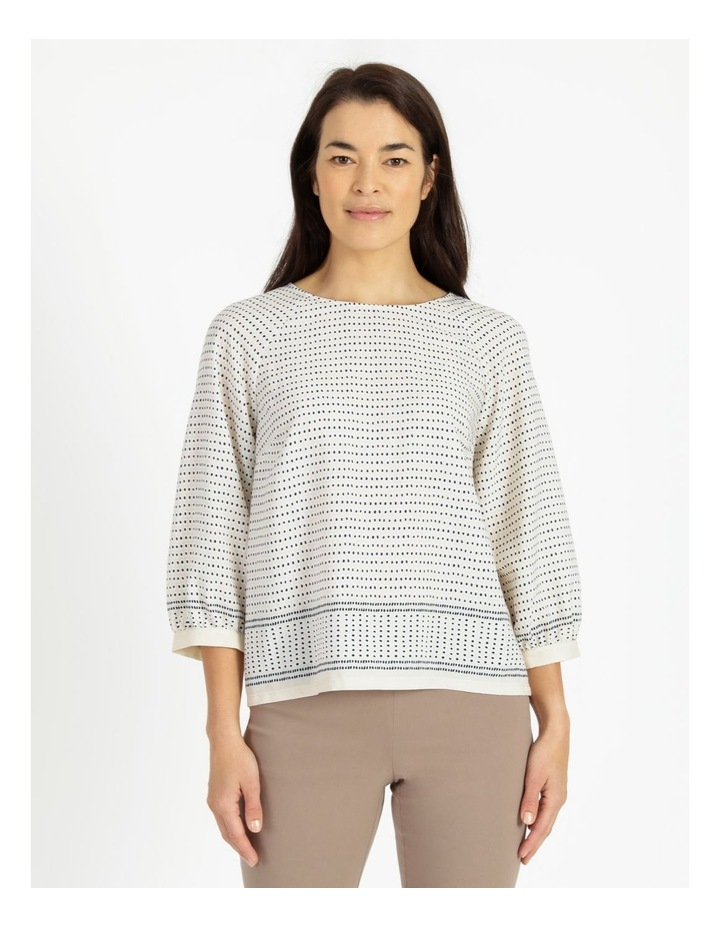 Raglan 3/4 Sleeve Woven Front/Knit Back Border Print Tee image 1