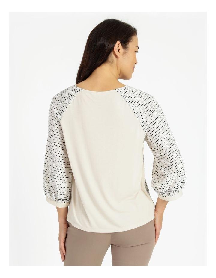 Raglan 3/4 Sleeve Woven Front/Knit Back Border Print Tee image 3