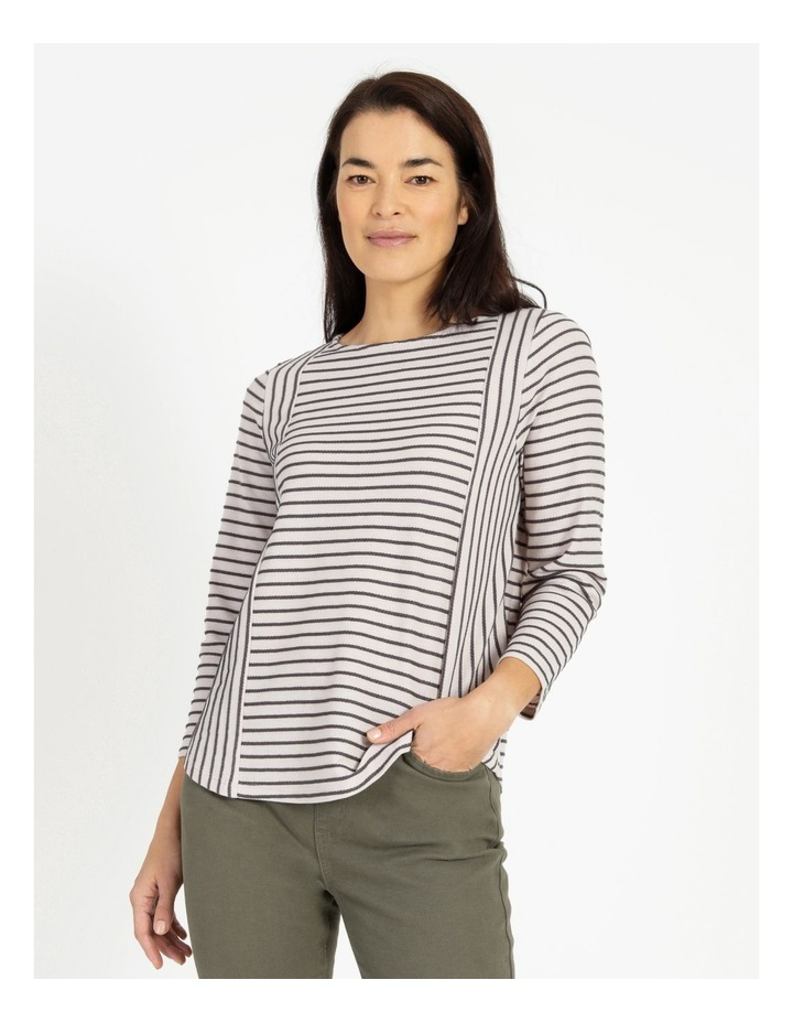 Horizontal And Vertical Stripe 3/4 Sleeve Tee image 1