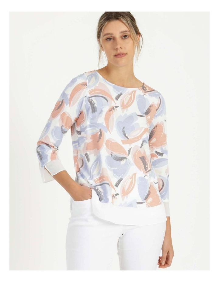 Round Neck Tee Ivory/Blue Floral image 1