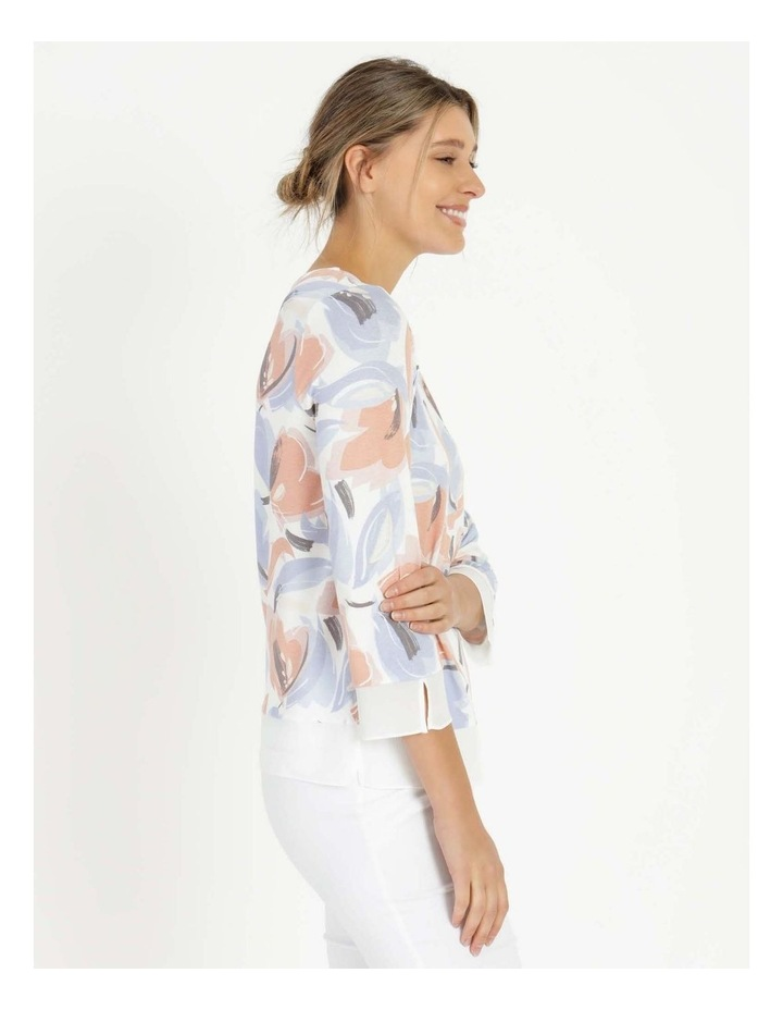 Round Neck Tee Ivory/Blue Floral image 2