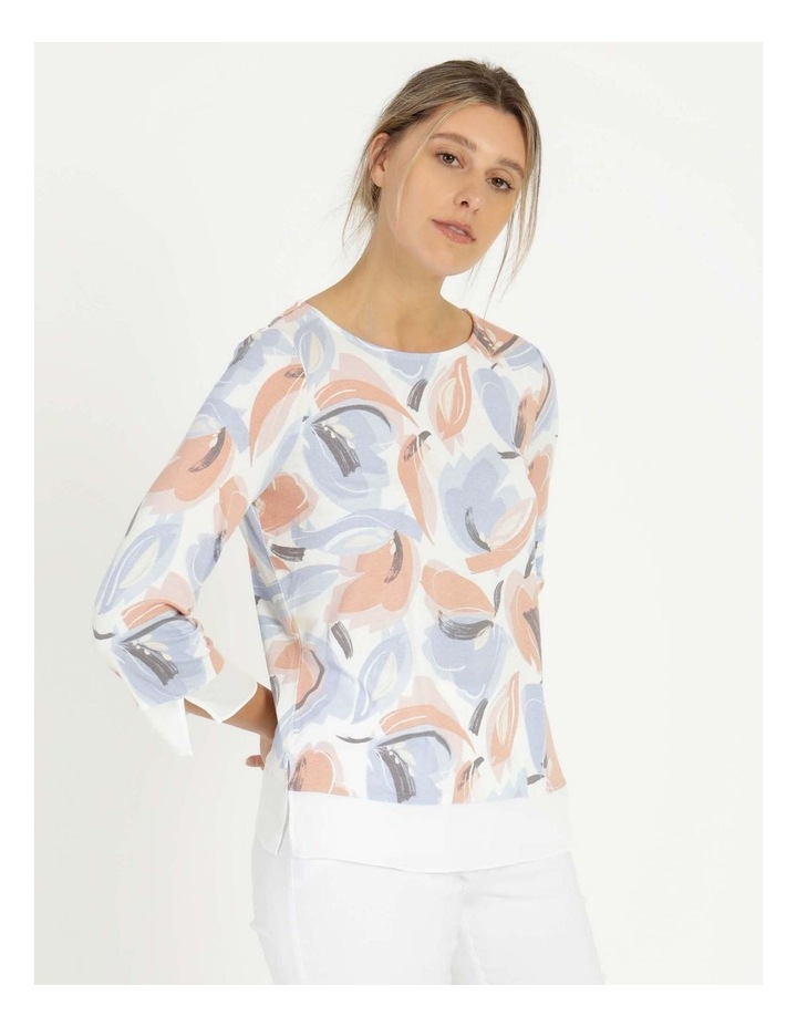 Round Neck Tee Ivory/Blue Floral image 5