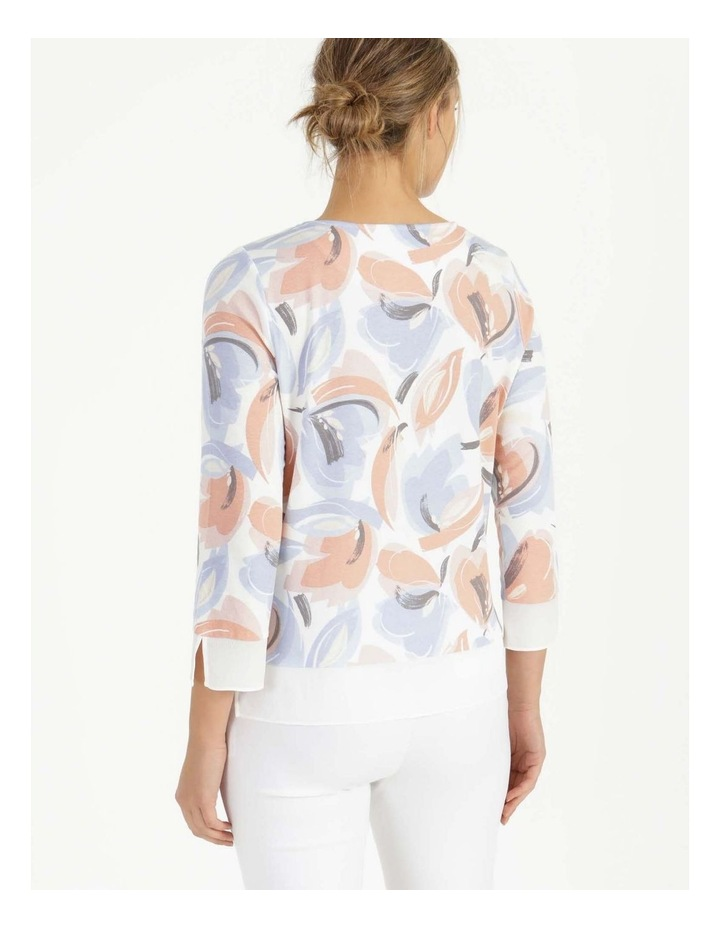 Round Neck Tee Ivory/Blue Floral image 6