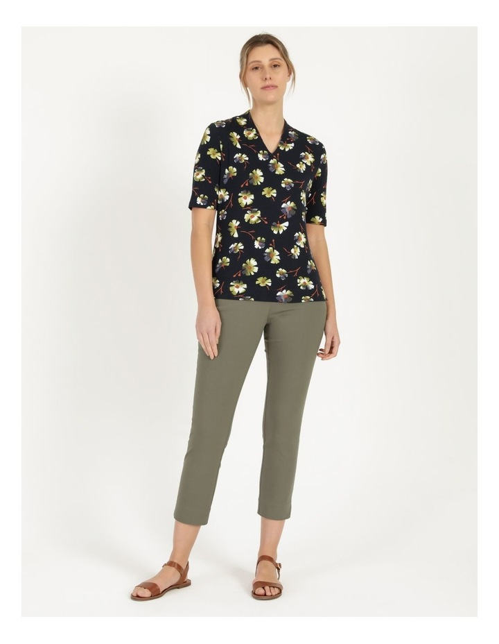 High Neck Short Sleeve Tee Navy/Avocado Floral image 2