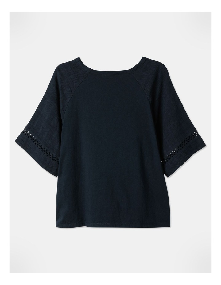 Raglan Short Sleeve Woven Front/Knit Back Lace Trim Tee Navy image 1