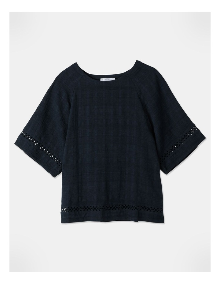 Raglan Short Sleeve Woven Front/Knit Back Lace Trim Tee Navy image 3