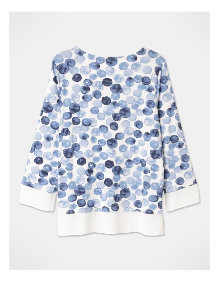Round Neck 3/4 Sleeve Sheer Trim Tee Ivory/Blue Spots image 3