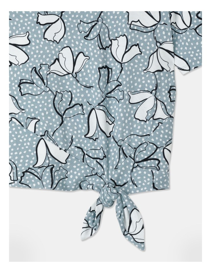 Short Sleeve Tie Hem Tee Pottery Blue/White/Navy Spot Floral image 2