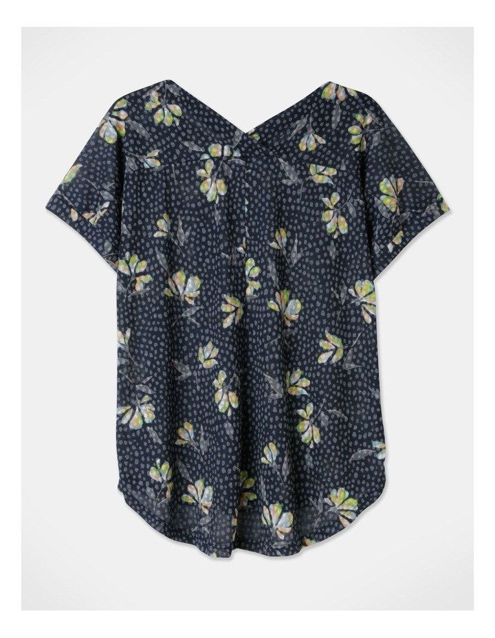 Extended Short Sleeve Burnout Cross Over Back Tee Navy Floral image 3