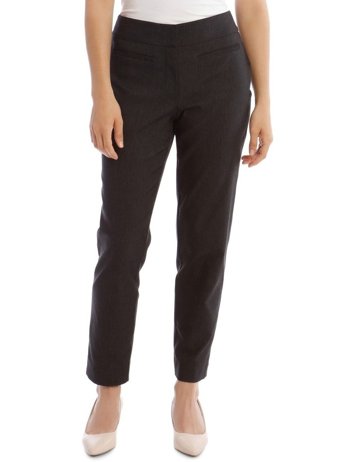 Slim Textured Fl Bengaline Pant- Black image 1