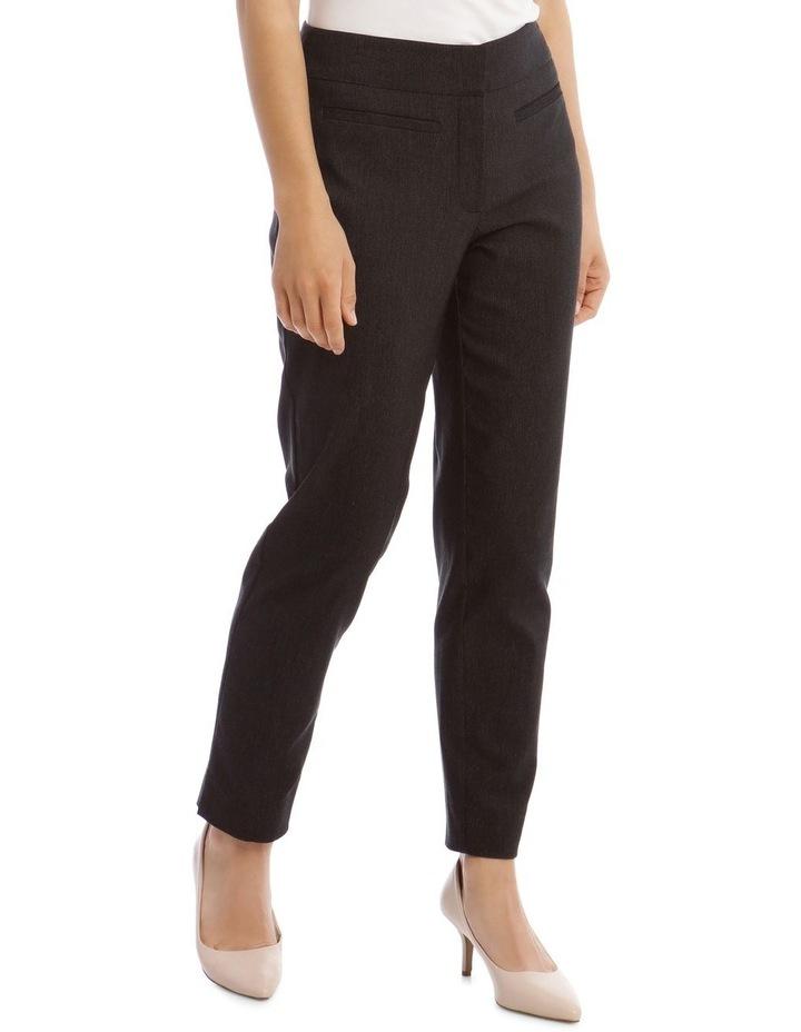Slim Textured Fl Bengaline Pant- Black image 2
