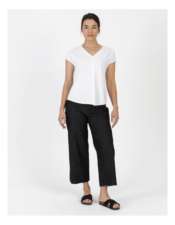 Stretch Cropped Straight Leg Pockets Pant Charcoal Denim image 1