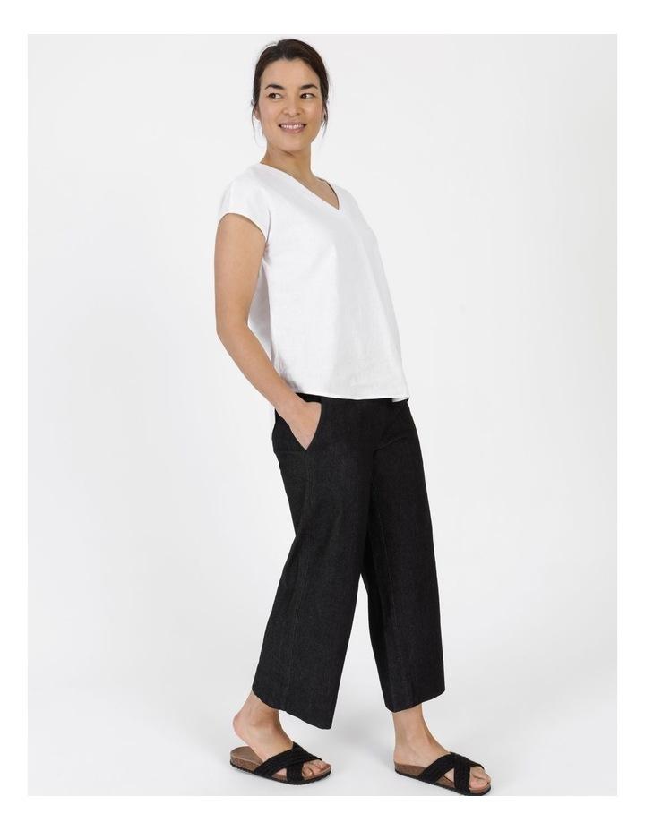 Stretch Cropped Straight Leg Pockets Pant Charcoal Denim image 3