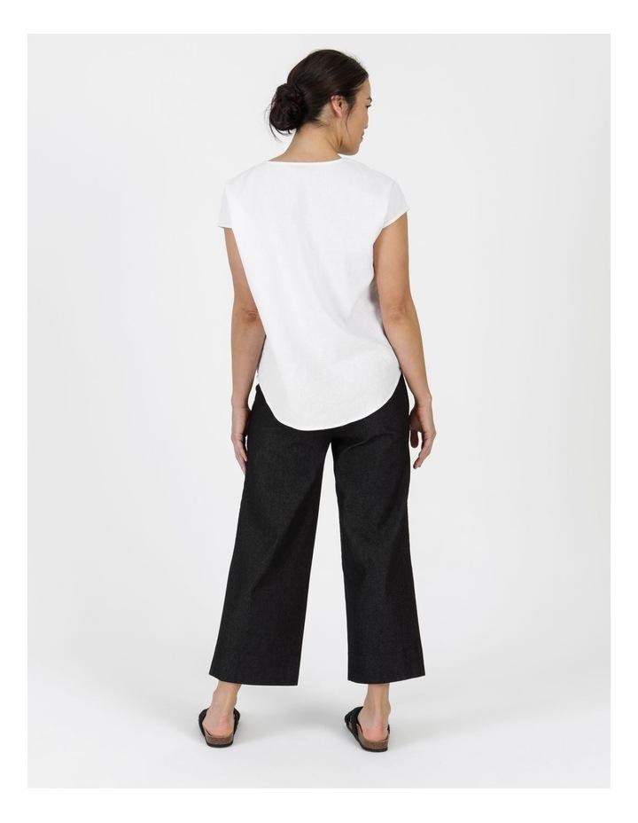 Stretch Cropped Straight Leg Pockets Pant Charcoal Denim image 4