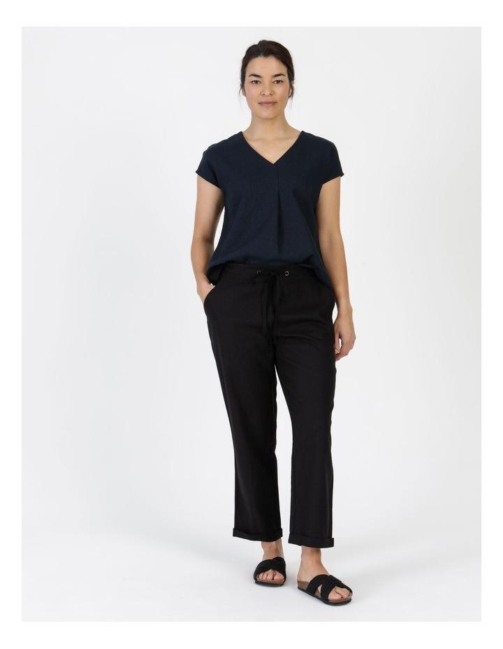Linen Blend Straight Leg Pant Black image 1