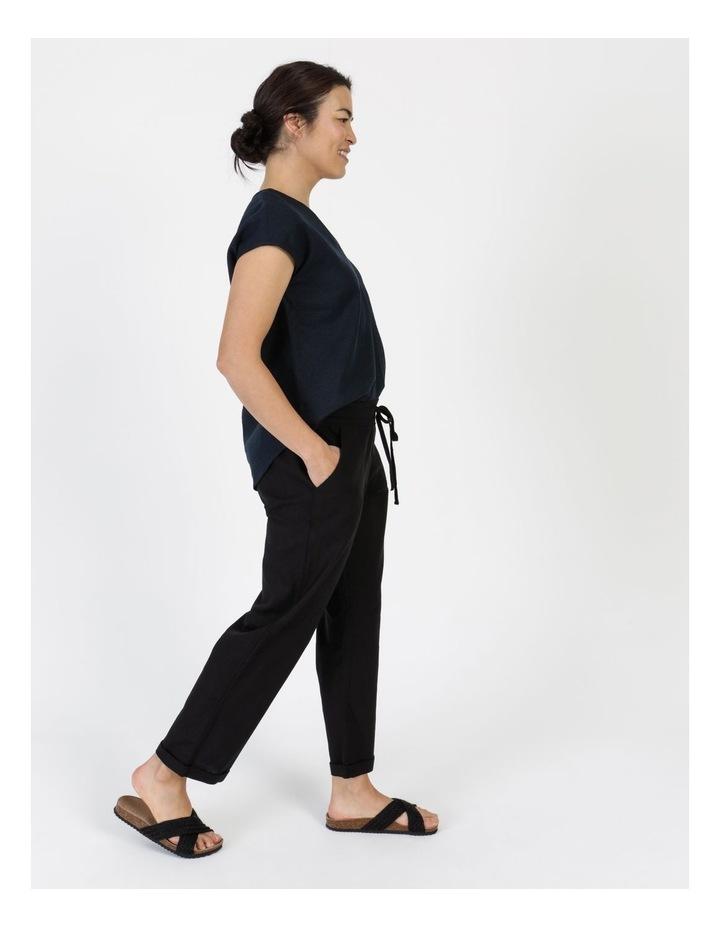 Linen Blend Straight Leg Pant Black image 2