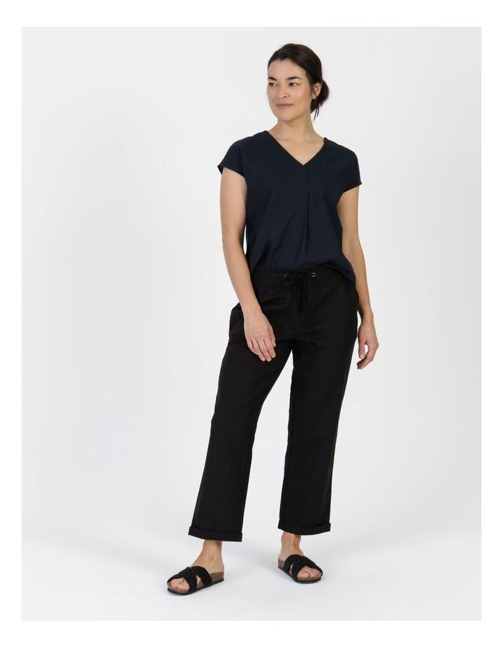 Linen Blend Straight Leg Pant Black image 3