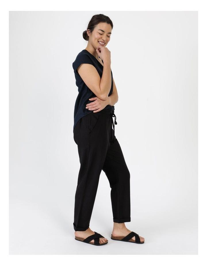Linen Blend Straight Leg Pant Black image 4