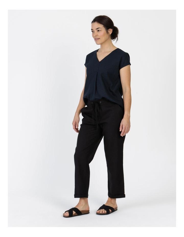 Linen Blend Straight Leg Pant Black image 5