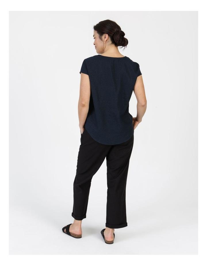 Linen Blend Straight Leg Pant Black image 6