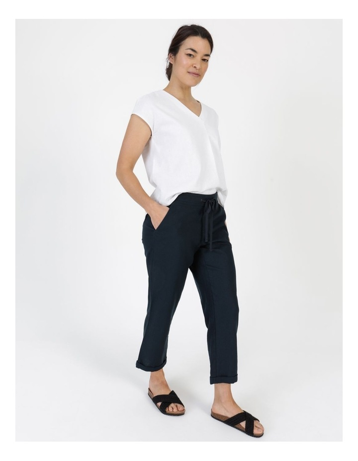 Linen Blend Straight Leg Pant Navy image 3