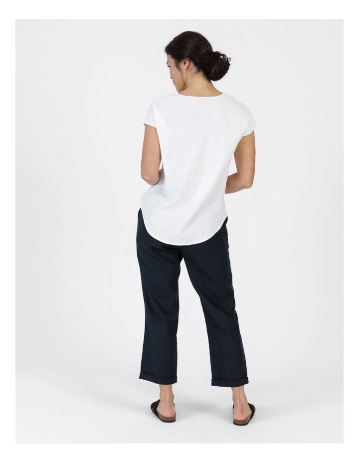 Linen Blend Straight Leg Pant Navy image 4
