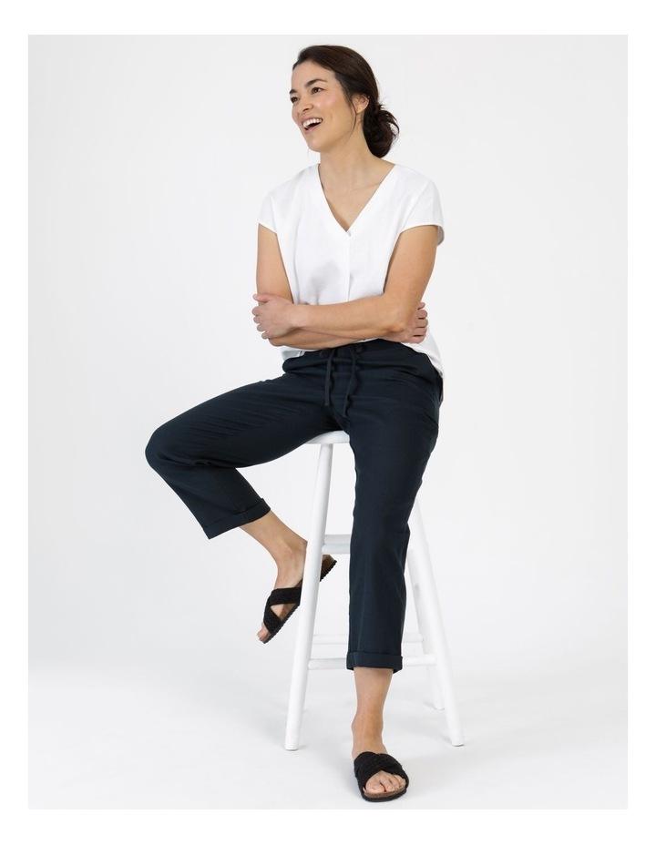 Linen Blend Straight Leg Pant Navy image 6