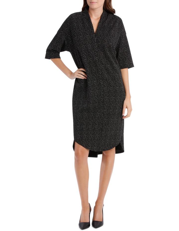 3/4 Sleeve V Neck Knit Dress-Black & White Print / Black/White RW19701P image 1
