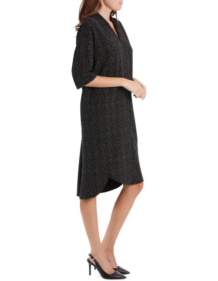 3/4 Sleeve V Neck Knit Dress-Black & White Print / Black/White RW19701P image 2