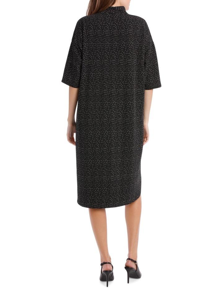 3/4 Sleeve V Neck Knit Dress-Black & White Print / Black/White RW19701P image 3