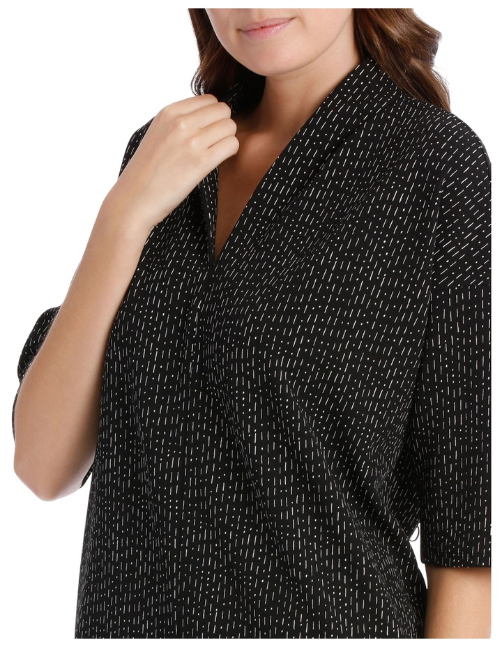 3/4 Sleeve V Neck Knit Dress-Black & White Print / Black/White RW19701P image 4