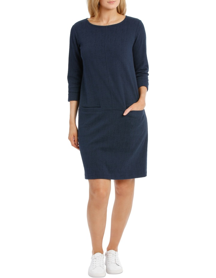 3/4 Slv Textured Knit Dress With Pockets-Blues image 1