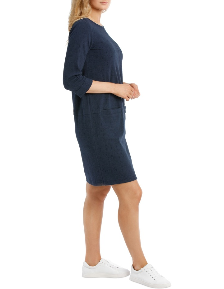 3/4 Slv Textured Knit Dress With Pockets-Blues image 2